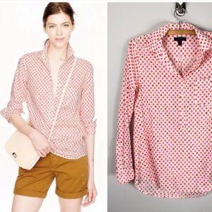 J. Crew Camp Popover Button Front Shirt Cotton